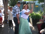 Lozada dancing with a spectator