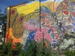A butterfly mural near El Batey