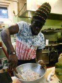 Chef David making shrimp burger.