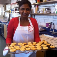 Jenny with baked Thumbprint cookies.