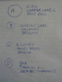 Listing of desserts to be prepared in class