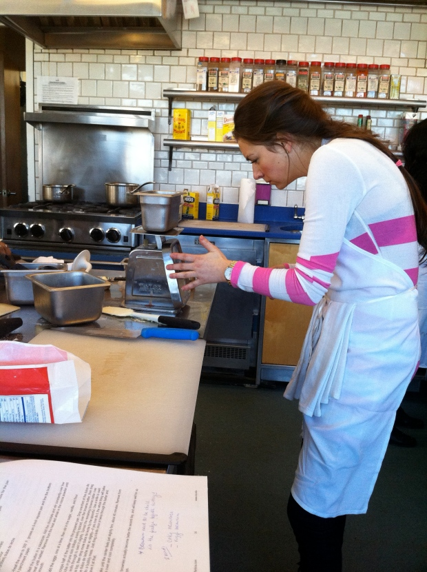 Vicki measuring ingredients