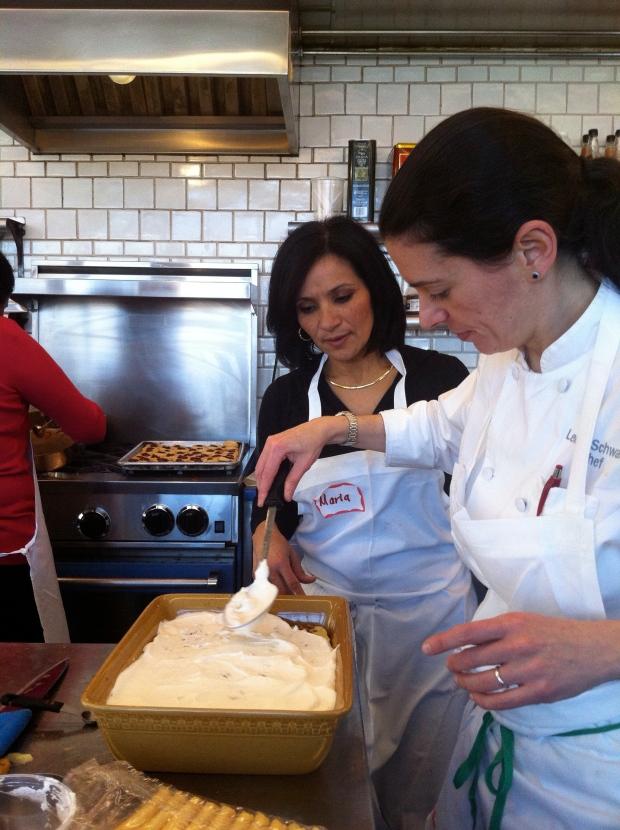 Maria and Chef Leticia preparing a dessert