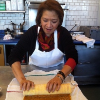 Baking student preparing jelly roll