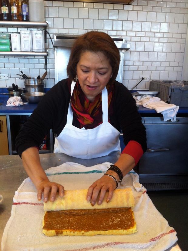 Baking student preparing jelly roll