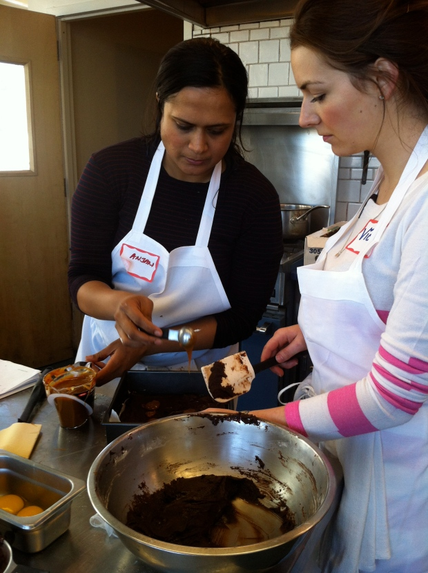 Anjan and Vicki preparing dulce de leche brownies