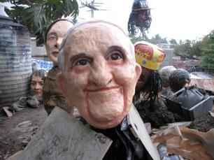 Pope Francis papier mache mask
